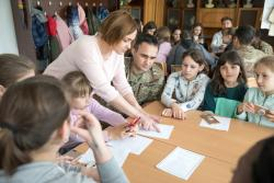 Task Force Carentan Soldiers visit Starychi High School.