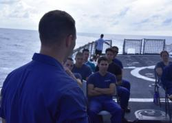 Coast Guard Cutter Thetis conducts divine services in the Mid-Atlantic Ocean