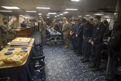 31st MEU Marines and Sailors celebrate 121st birthday of Hospital Corpsmen aboard USS Wasp